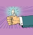 bandaged finger up like approval gesture vector image vector image