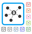 bitcoin net structure framed icon vector image vector image