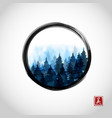 blue misty mountain trees in black enso zen circle vector image vector image