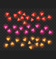 bright neon heart shaped bulbs holiday garland vector image