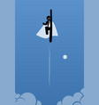 businessman with cape flying up to the sky vector image