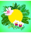 Card with tropical flowers palm and banana leaves vector image