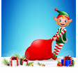 christmas background with elf pulling a bag full o vector image vector image