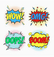 comic speech bubbles - wow omg oops boom vector image vector image