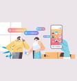 couple communicate voice messages audio chat vector image vector image