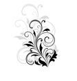 Dainty scrolling black and white floral element vector image vector image