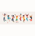 diverse group happy people jumping cheerful vector image vector image