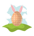 egg painted with rabbit ears easter in the camp vector image vector image