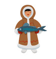 eskimo girl with fish graphics isolated on white vector image vector image