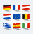 european countries flags texture icons set vector image vector image