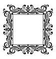 floral decorative square frame black ornament vector image