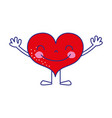 full color heart kawaii with arms and legs design vector image vector image