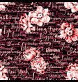 handwriting script with flowers wallpaper vector image