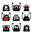 happy halloween monster icon set black silhouette vector image vector image