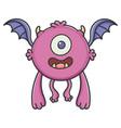 happy purple flying cartoon bat monster