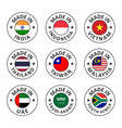 icon set made in india indonesia vietnam vector image vector image