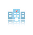 isolated hospital color icon with reflection vector image vector image