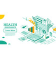 isometric health insurance contract man fills vector image