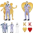King of hearts attractive caucasian man with corps vector image vector image