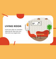 living room website banner template vector image vector image