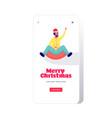 man in santa hat sledding on snow rubber tube vector image vector image