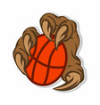 monsters playing basketball sticker concept vector image vector image