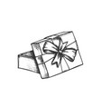 opened gift box and decorated ribbon retro vector image vector image