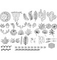 outline hand drawn bohemian clipart with feather vector image vector image