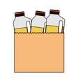 paper bag with drinks orange juice bottles in vector image