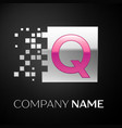 pink letter q logo symbol in the silver square vector image vector image