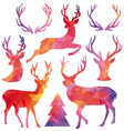 Polygon Christmas deer set vector image