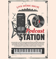 radio music show podcast station retro vector image