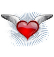 red heart with the wings vector image vector image
