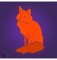 Red sitting fox silhouette vector image vector image
