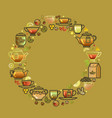 round frame with cup leaf lemon teapot vector image