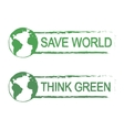 Save world think green sign with planet vector image vector image