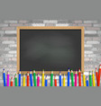 school slate and colored pencils vector image