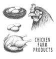 set monochrome chicken farm products vector image