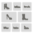 set of monochrome icons with shoes vector image vector image