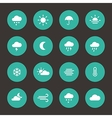 Set of weather forcast flat icons on circle vector image