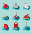 sewing flat isometric icons vector image