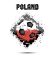 soccer ball in the color of poland vector image vector image