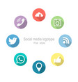 Social networking set icons flat style