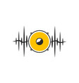 stylised yellow speaker on dark waves vector image vector image