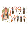 tourist traveler pose set happy young male vector image