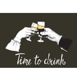 Two hands hold glasses of champagne vector image vector image
