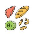 vitamin b9 green yellow color icon bread liver vector image vector image
