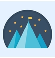 Blue mountain peak with flag vector image