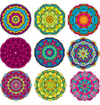 round ornaments kaleidoscope floral patterns vector image