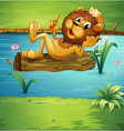 A smiling lion on a dry wood vector image vector image